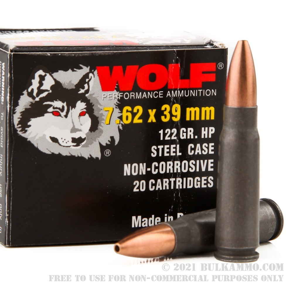 1000 Rounds Of Bulk 7 62x39mm Ammo By Wolf 122gr Hp