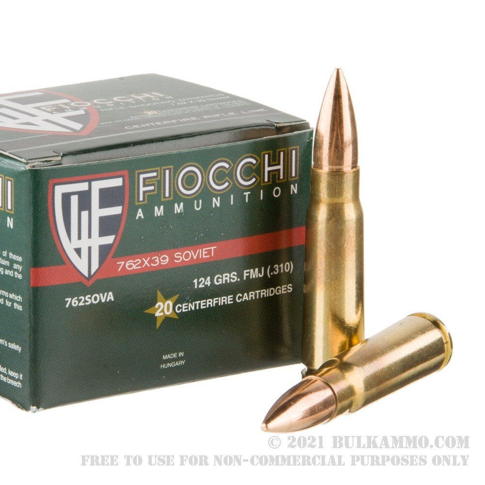 20 Rounds Of Bulk 7 62x39mm Ammo By Fiocchi 124gr Fmj