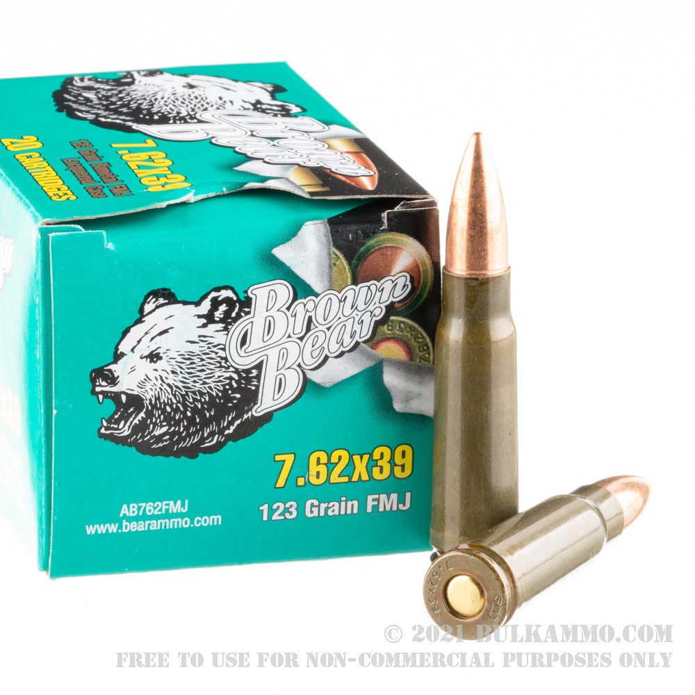 500 Rounds Of Bulk 7 62x39mm Ammo By Brown Bear 123gr Fmj