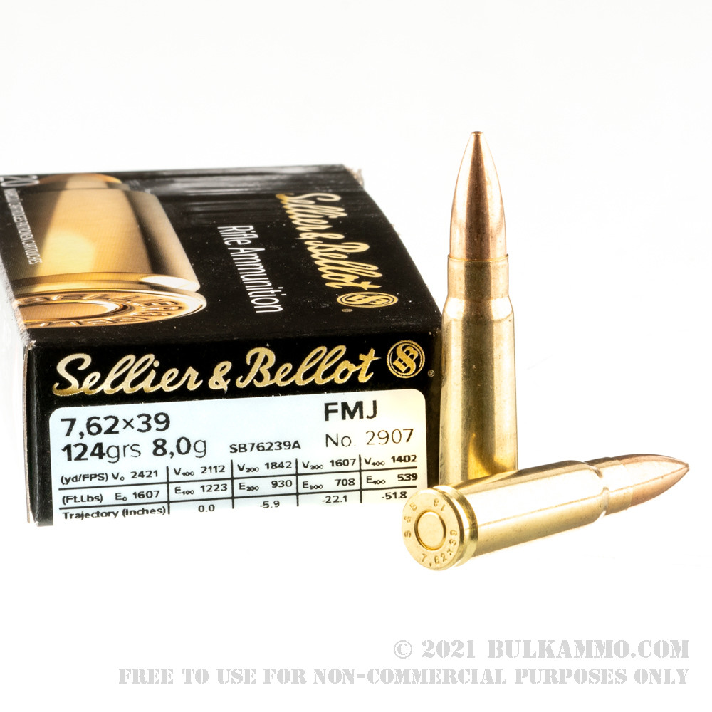 600 Rounds Of Bulk 7 62x39mm Ammo By Sellier Bellot 123gr Fmj