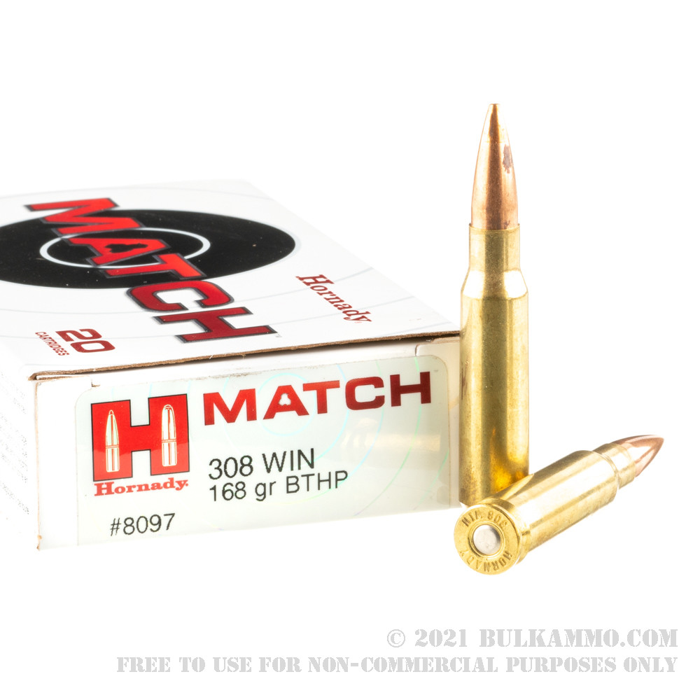 20 Rounds Of Bulk 308 Win Ammo By Hornady 168gr Hpbt