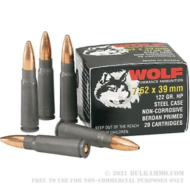 500 Rounds Of Bulk 7 62x39mm Ammo By Wolf 122gr Hp