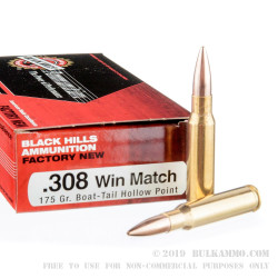 500 Rounds of .308 Win Ammo by Black Hills Ammunition - 175gr HPBT