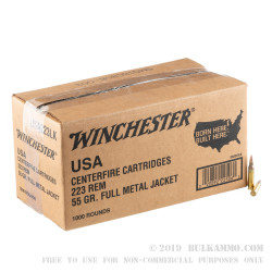 1000 Rounds of .223 Ammo by Winchester - 55gr FMJ