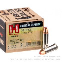 250 Rounds of .38 Spl Ammo by Hornady Critical Defense - 110gr JHP