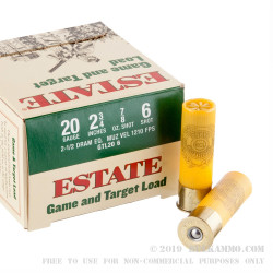 "25 Rounds of 20ga Ammo by Estate Cartridge Game and Target - 2-3/4"" 7/8 oz. #6 Shot"