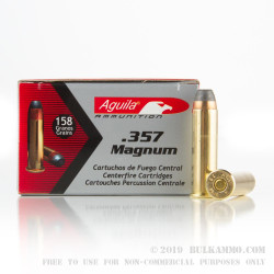 50 Rounds of .357 Mag Ammo by Aguila - 158gr SJSP