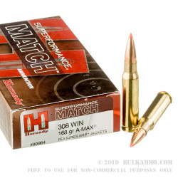 20 Rounds of .308 Win Ammo by Hornady Superformance Match - 168gr Polymer Tipped