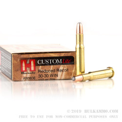 200 Rounds of 30-30 Win Ammo by Hornady Custom Lite - 150gr RN