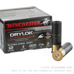 "25 Rounds of 12ga 3"" Ammo by Winchester DryLok Super Steel - 1 3/8 ounce #2 Shot"