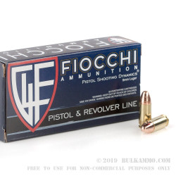 50 Rounds of 9mm Ammo by Fiocchi - 124gr CMJ