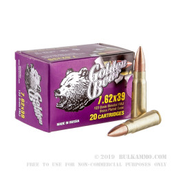 20 Rounds of 7.62x39mm Ammo by Golden Bear - 123gr FMJ