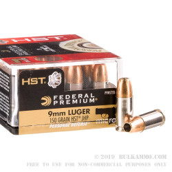 20 Rounds of 9mm Ammo by Federal Premium Personal Defense - 150gr HST JHP