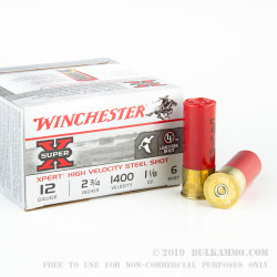 "25 Rounds of 12ga 2-3/4"" Ammo by Winchester - 1 1/8 ounce #6 Shot (Steel)"