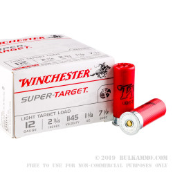 "250 Rounds of 12ga Ammo by Winchester Super-Target - 2-3/4"" 1 1/8 ounce #7 1/2 shot"