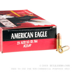 1000 Rounds of .25 ACP Ammo by Federal American Eagle - 50gr FMJ