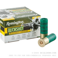 "250 Rounds of 12ga Ammo by Remington - 2-3/4"" 00 Buck"