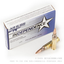 20 Rounds of 5.56x45mm Ammo by Independence - 55gr Full Metal Jacket - Boat Tail