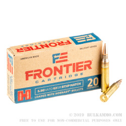 500 Rounds of 5.56x45 Ammo by Hornady Frontier - 62gr BTHP Match