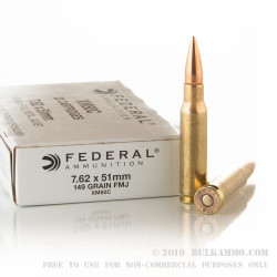 20 Rounds of 7.62x51mm Ammo by Federal - 149gr FMJ