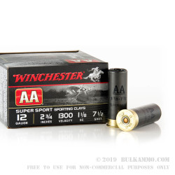"""25 Rounds of 12ga Ammo by Winchester AA Sporting Clay - 2-3/4"""" 1 1/8 ounce #7 1/2 shot"""