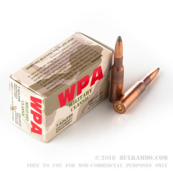 500  Rounds of 7.62x54r Ammo by Wolf WPA Military Classic - 200gr SP