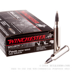 20 Rounds of 7mm Rem Mag Ammo by Winchester - 140gr Polymer Tipped
