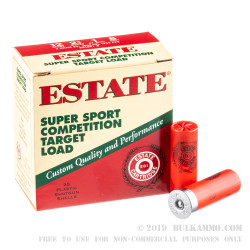 """250 Rounds of 12ga 2-3/4"""" Ammo by Estate Super Sport Competition Target - 1 ounce #8 Shot"""