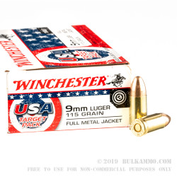 500 Rounds of 9mm Ammo by Winchester USA Target Pack - 115gr FMJ