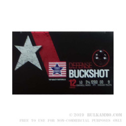 """250 Rounds of 12ga Ammo by Stars & Stripes - 2-3/4"""" 9 Pellet 00 Buck"""