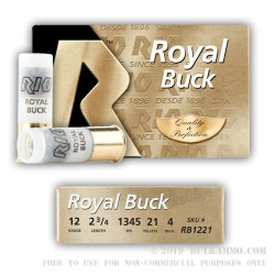 250 Rounds of 12ga Ammo by Rio -  #4 Buck