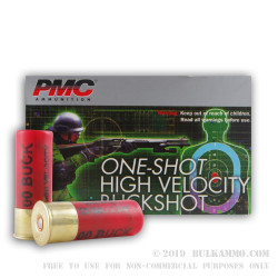 5 Rounds of 12ga Ammo by PMC -  00 Buck