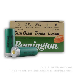 25 Rounds of 12ga Ammo by Remington - 1 ounce #8 shot