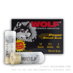 250 Rounds of 12ga Ammo by Wolf - 1 ounce Rifled Slug