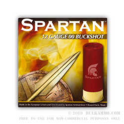 25 Rounds of 12ga Ammo by Spartan Ammo -  00 Buck - 9 Pellets
