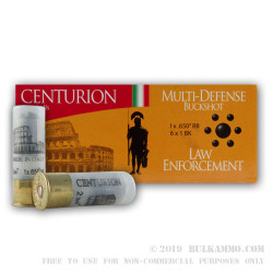 "250 Rounds of 12ga Ammo by Centurion -  .650"" Ball over #1 Buck"