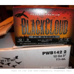 "25 Rounds of 12ga 3"" Ammo by Federal Black Cloud - 1 1/4 ounce #2 Shot (Steel)"