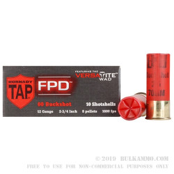 250 Rounds of 12ga TAP FPD Ammo by Hornady -  00 Buck