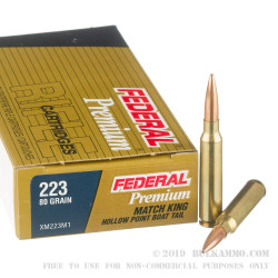 20 Rounds of .223 Ammo by Federal Sierra MatchKing - 80gr HPBT