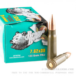 20 Rounds of 7.62x39mm Ammo by Brown Bear - 123gr FMJ