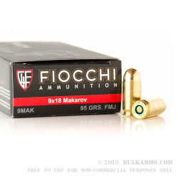 50 Rounds of 9x18mm Makarov Ammo by Fiocchi - 95gr FMJ