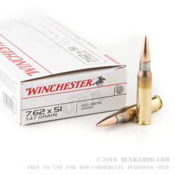 200 Rounds of 7.62x51mm Ammo by Winchester - 147gr FMJ