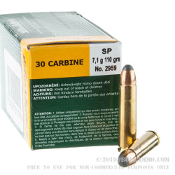 50 Rounds of .30 Carbine Ammo by Sellier & Bellot - 110gr SP