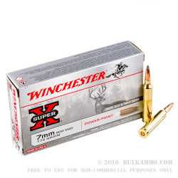20 Rounds of 7mm Rem Mag Ammo by Winchester - 175gr PP