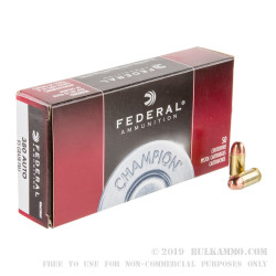 50 Rounds of .380 ACP Ammo by Federal Champion - 95gr FMJ