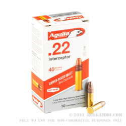 50 Rounds of .22 LR Ammo by Aguila Interceptor - 40gr CPRN