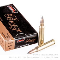 20 Rounds of .223 Ammo by PMC Bronze - 55gr PSP