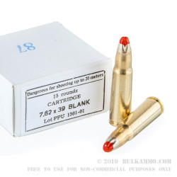 15 Rounds of 7.62x39mm Ammo by Prvi Partizan -  Blanks