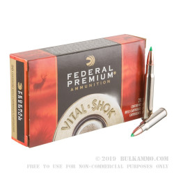 20 Rounds of 30-06 Springfield Ammo by Federal Vital-Shok - 165gr Nosler Ballistic Tip