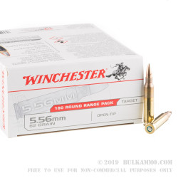 180 Rounds of 5.56x45 Ammo by Winchester - 62gr Open Tip